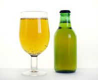 Beer. Cup and bottle of beer over white Royalty Free Stock Image