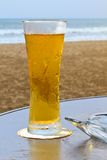 Beer. Cold and refreshing, tall glass of beer giving off a golden glow set against an ocean view stock photography