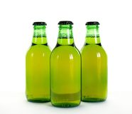 Beer. Three green bottles of beer Stock Images