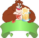 Beer. Brown bear drinking beer.He holds in his paws a mug of beer and shrimp.Additionally, a vector EPS format Royalty Free Stock Photos