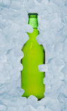 Beer. Green beer bottle in ice Royalty Free Stock Photo