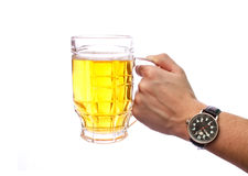 Beer. Hand hold a beer on white background Stock Photography