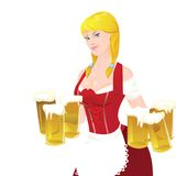 Beer. Girl with beers from festival Royalty Free Stock Photography