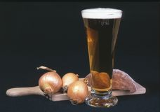 Beer. A beer with onion and meat Royalty Free Stock Image