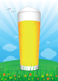 Beer. Sky, clouds, flowers and grass Vector Illustration