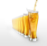Beer. On white background ,glass royalty free stock photography