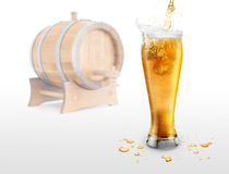 Beer. On the white bacground anв barrel royalty free stock photo