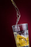 Beer 3. Cold beer swirling into a transparent glass. Photo made in studio Royalty Free Stock Image