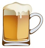 Beer. The beer frothed up and overflowed the glass royalty free illustration