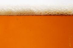 Beer. Close-up of a beer glass with amber-colored beer and bubbles stock photo