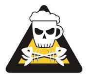 Beer. Warning! Beer cranium vector illustration Royalty Free Stock Photos