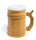 Beer. Wooden mug with beer isolated on white royalty free stock photography