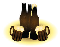 Beer. Bottles and two wooden cup with bubble and foam Royalty Free Stock Photos