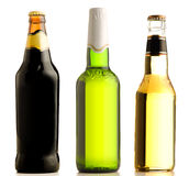 Beer. Set from several photos of bottles from under beer of different grades Royalty Free Stock Images