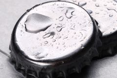 Beer. Lid of beer iced in close Stock Photo
