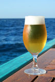 Beer. Glass of blond beer on sea background Stock Photos