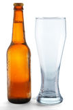 Beer. Wet bottle with beer and empty wet glass Stock Images
