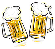 Beer. Vector illustration of two beer mugs isolated on white background Royalty Free Stock Images