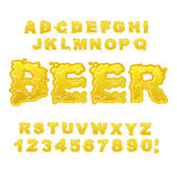 Beer ABC. Alcoholic alphabet. drink letters. Yellow liquid font. Stock Images