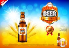 Beer ads. Bottle and wheats on field bokeh vector background. Beer ads. Bottle and wheats on field bokeh background. 3d illustration and design Royalty Free Stock Photography