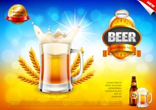 Beer ads. Frothy mug and wheats on field bokeh vector background. Beer ads. Frothy mug and wheats on field bokeh background. 3d illustration and design stock illustration