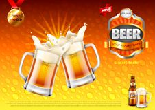 Beer ads. Two toasting frothy mugs on gold vector background. Beer ads. Two toasting frothy mugs on gold background. 3d illustration and design Royalty Free Stock Photo