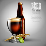 Beer advertising design.  Highly realistic illustration with the Stock Photos