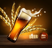 Beer advertising design.  Highly realistic illustration with the Royalty Free Stock Photo