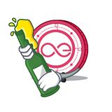 With beer Aeternity coin mascot cartoon. Vector illustration Stock Photography