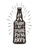 Beer, ale, brew label. Lettering, calligraphy vector illustration. Bottle, drink symbol or icon Stock Photos