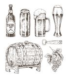 Beer and Ale Collection Isolated on White Backdrop. Vector illustration of different bottles and alcohol containers, oak cask and hop, can opener vector illustration