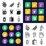 Beer All in One Icons Black & White Color Flat Design Freehand Set. This image is a vector illustration and can be scaled to any size without loss of resolution royalty free illustration