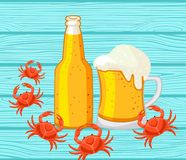 Free Beer And Hardshell Crabs. Vector Illustration. Stock Photo - 111178210