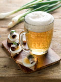 Beer with appetizer Royalty Free Stock Images