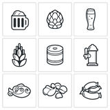 Beer and appetizer icons. Vector Illustration. Vector  Flat Icons collection on a white background for design Stock Photo