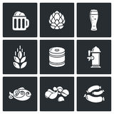Beer and appetizer icons. Vector Illustration. Vector Isolated Flat Icons collection on a black background for design Stock Photography
