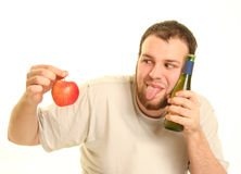Beer and apple Stock Photos