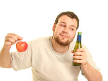 Beer and apple Stock Photo