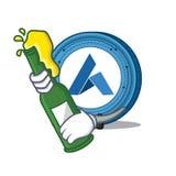 With beer Ardor coin mascot cartoon. Vector illustration Royalty Free Stock Photos