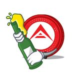 With beer Ark coin mascot cartoon. Vector illustration Stock Images