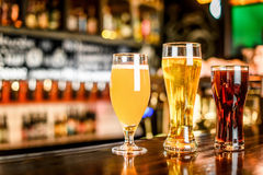 The beer assortment in pub stock photo