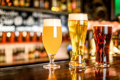 The beer assortment in pub royalty free stock photos
