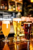The beer assortment in pub royalty free stock image