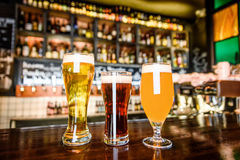 The beer assortment in pub royalty free stock photography