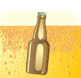 Beer background with bottle Royalty Free Stock Photography