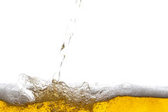 Beer background. Bubbles. Close Up of Beer Foam Stock Photos