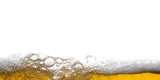 Beer background. Bubbles. Close Up of Beer Foam Stock Image