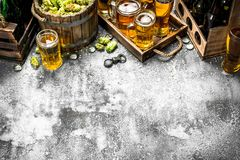 Beer background. Fresh beer with ingredients. On a rustic background Royalty Free Stock Photography