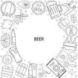 Beer background from line icon. Linear vector pattern Stock Photography