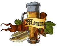Beer background. Beer mug and fish, this illustration may be useful as designer work Royalty Free Stock Photography